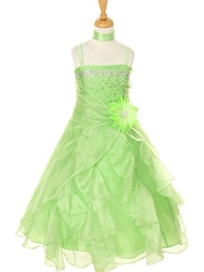 Flower Girl Dresses#CD1101E : Dazzling Two Tone Crystal Organza Long Ruffle Dress
