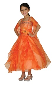 Flower Girl Dresses#CD1101O : Dazzling Two Tone Crystal Organza Long Ruffle Dress