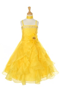 Flower Girl Dresses#CD1101Y : Dazzling Two Tone Crystal Organza Long Ruffle Dress