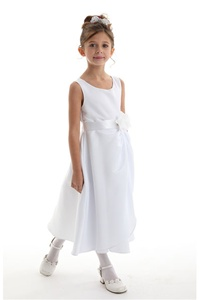 Flower Girl Dresses # CD1165W : Stunning Bridal Satin Dress w/ Sequined Flower on Waist Girl Dress