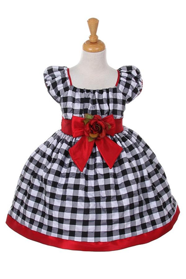 Elegant black and white checkered print taffeta baby dress with flower girl dresses cd1177r elegant black and white checkered print taffeta dress with detachable mightylinksfo