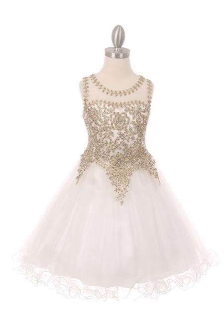 #CD5017 : Sleeveless Gold Embellished Short Party Dress