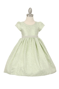 Flower Girl Dress #CD510 : Elegant jacquard lurex sleeve T-length dress