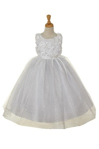 Flower Girl Dresses #CD525W : White Rosette Top and Overlay of Soft Tulle Glitter
