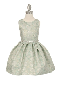 Flower Girl Dress #CD570 : Elegant Shiny Jacquard Printed Dress