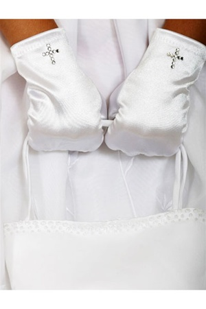 #CRG : White Short Satin Cross Rhinestone Gloves