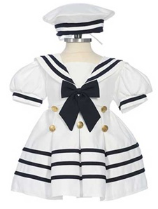 2Pcs White Sailor Dress