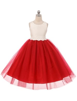 #GG3566RD : solid tulle dress