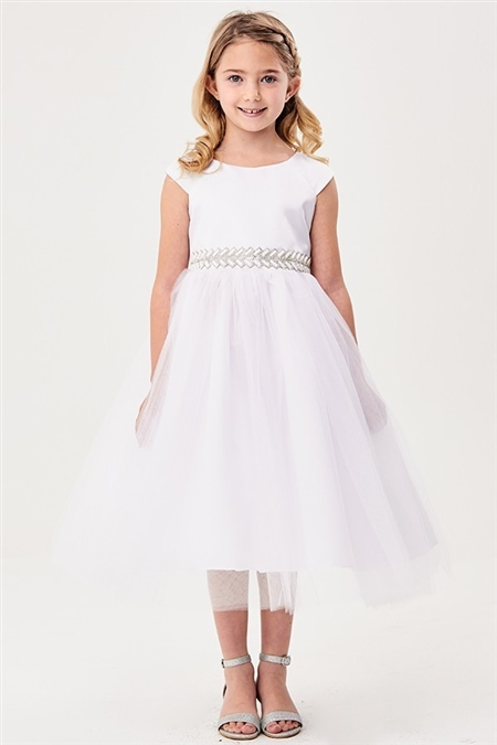 #GG3577 white : Flower Aplique Ribbon Dress
