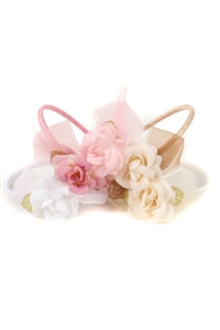 #HB020 : Headband with organza bow and flower