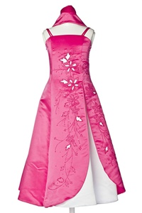 Flower Girl Dresses #HC069F : Satin A-line Dress Decorated with Lazer Cut and Flower Beads
