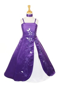 Flower Girl Dresses #HC069P : Satin A-line Dress Decorated with Lazer Cut and Flower Beads