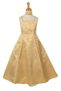 Flower Girl Dresses #HC1082G : Satin A-line Dress Decorated with Flower Beads