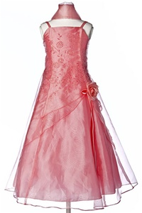 Flower Girl Dresses #HC1110CCO : Triple Layered Organza Long Dress with Flower Beads