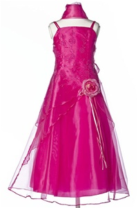 Flower Girl Dresses #HC1110CF : Triple Layered Organza Long Dress with Flower Beads