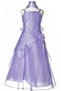 Flower Girl Dresses #HC1110CL : Triple Layered Organza Long Dress with Flower Beads