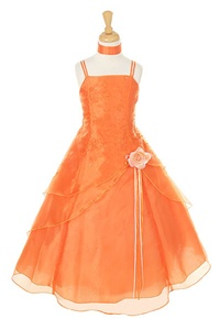 Flower Girl Dresses #HC1110CO : Triple Layered Organza Long Dress with Flower Beads