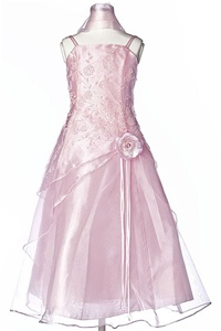 Flower Girl Dresses #HC1110CP : Triple Layered Organza Long Dress with Flower Beads