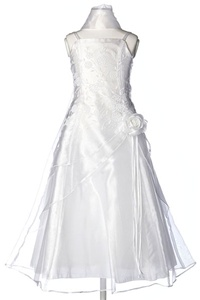 Flower Girl Dresses #HC1110CW : Triple Layered Organza Long Dress with Flower Beads