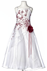 Flower Girl Dresses #HC1110WB : Triple Layered Organza Long Dress with Colored Flower Beads