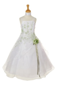 Flower Girl Dresses #HC1110WG : Triple Layered Organza Long Dress with Colored Flower Beads