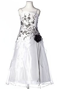 Flower Girl Dresses #HC1110WK : Triple Layered Organza Long Dress with Colored Flower Beads
