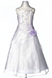 Flower Girl Dresses #HC1110WL : Triple Layered Organza Long Dress with Colored Flower Beads
