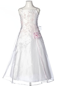 Flower Girl Dresses #HC1110WP : Triple Layered Organza Long Dress with Colored Flower Beads