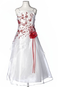 Flower Girl Dresses #HC1110WR : Triple Layered Organza Long Dress with Colored Flower Beads