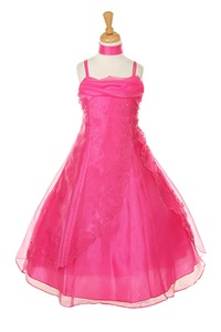Flower Girl Dresses #HC1215F : Crystal Organza Dress with Flower Beads