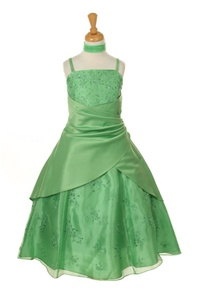 Flower Girl Dresses #HC1232G : Organza & Satin A-line Dress Decorated with Flower Beads.