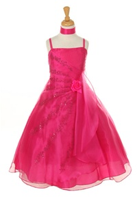 Flower Girl Dresses #HC1251F : Crystal Organza Dress Gathered waist with Flower Beads