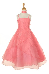 Flower Girl Dresses #HC2007C : Elegant Layered Organza Dress with Flower Beads