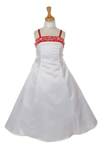 Flower Girl Dresses #HC709R : White Satin A-line Dress Decorated with Flower Beads