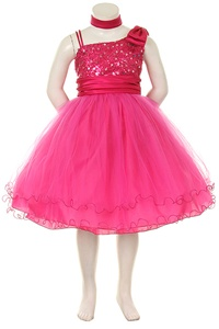 Flower Girl Dresses #HC728F : Stunning Sleeveless Mesh Dress w/ Sequind Bodice & Tulled Skirt Girl Dress