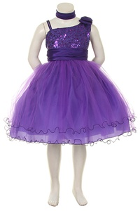 Flower Girl Dresses #HC728P : Stunning Sleeveless Mesh Dress w/ Sequind Bodice & Tulled Skirt Girl Dress