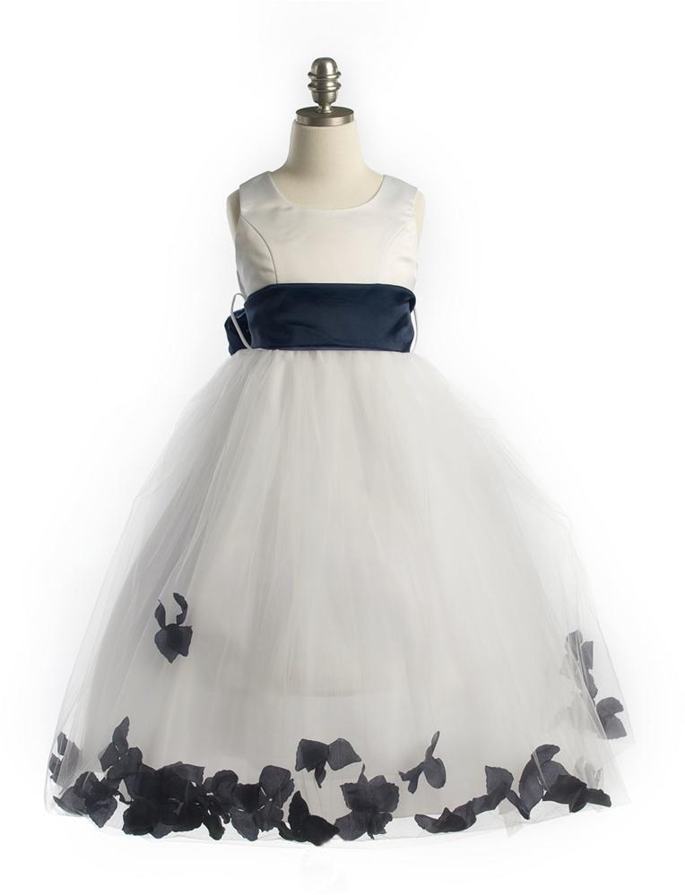 26c97cfc095  JK2570NV   Satin Bodice Petal Flower Girl Dress with Organza Sash Navy  Petals