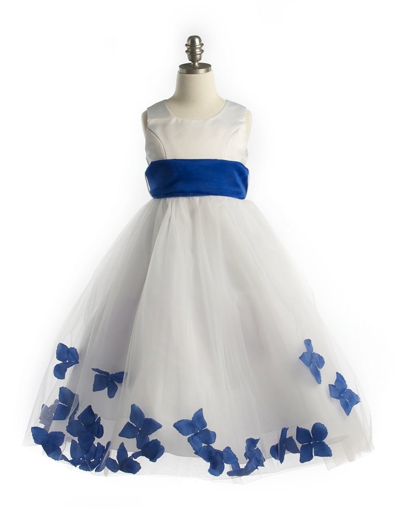 Satin Bodice Petal Flower Girl Dress with Organza Sash