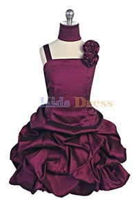 Flower Girl Dresses #JK3020PU : Stretched Taffeta Pick-Up Dress with Hand Rolled Roses