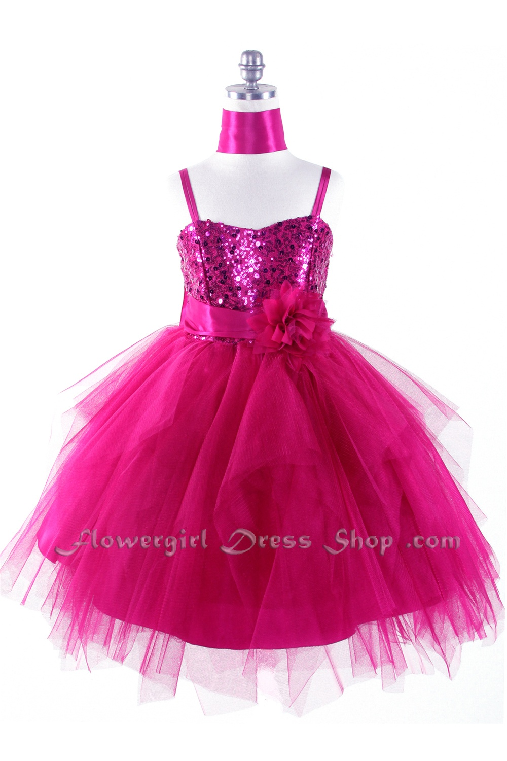 Sequined Bodice With Tulle Overlayed Flower Girl Dress