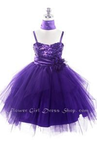 Flower Girl Dresses #JK3333P : Sequined Bodice With Tulle Overlayed Flower Girl Dress