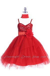 Flower Girl Dresses #JK3333R : Sequined Bodice With Tulle Overlayed Flower Girl Dress