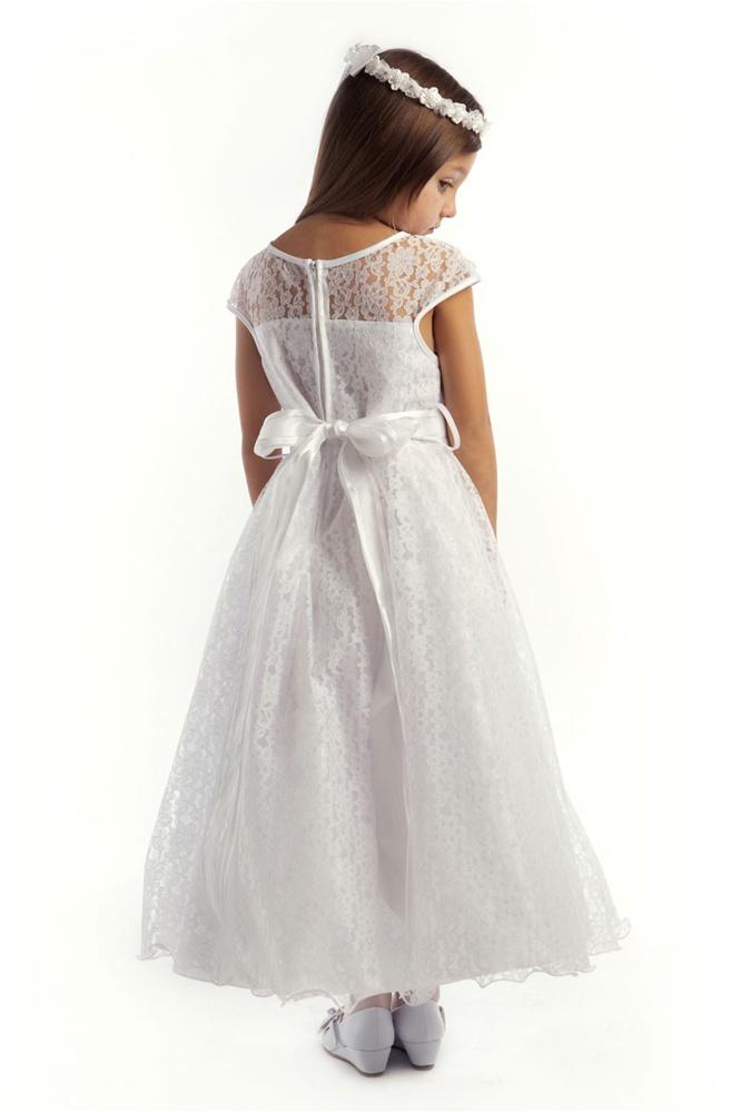 Sweet Cap Sleeved Lacey Girl Dress w/ Flower Accent Girl Dress
