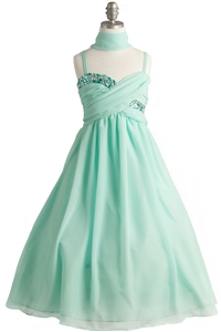 Elegant Wrapped & Crystal Ruched Chiffon Gown (#JK3556)