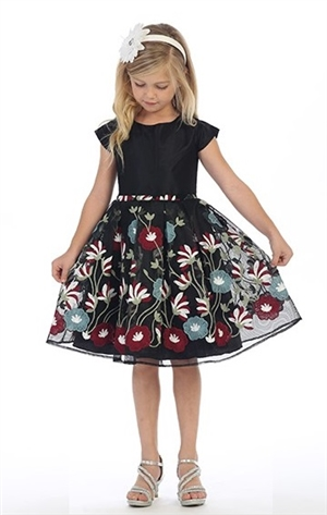 #JK3725 : Colorful dress with embroidered flowers