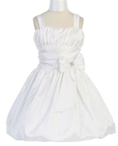 Flower Girl Dresses #JK5001WH : Gathered Taffeta Bubble Dress With Big Bow