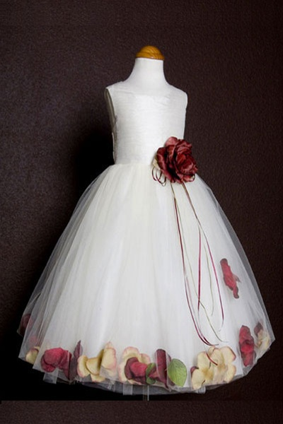 c99392cde9d Flower Girl Dresses  KD160AIV-BU   Dupioni Silk or Satin Bodice Petal Flower  Girl