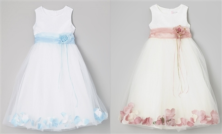 #KD160B babyblue-dustyrose : Flower Petal Dress