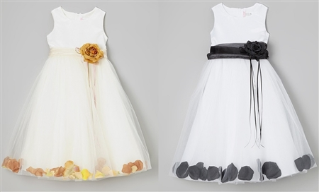 #KD160B champagne-black : Flower Petal Dress