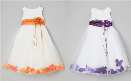 #KD160B orange-eggplant : Flower Petal Dress